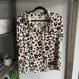 Stars Above Leopard Soft Button PJ Top